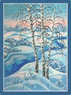 """За окном чудесная погода по настоящему зимняя и морозная, и мне хотелось бы поделиться мастер-классом по рисованию """"Зимний пейзаж. Морозное утро"""", он для тех, кто хотел бы попробовать себя в художественном творчестве. Работа может быть выполнении как людьми с опытом рисования, так и новичками. Поэтапное рисование - поможет вам избежать наиболее часто встречающихся ошибок и придаст уверенности в собственных силах. Работа выполняется без предварительного рисунка. Материалы: гуашь ватман…"""