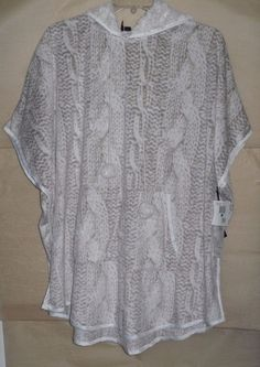 KENSIE ultra-soft hooded poncho loungewear in faux cableknit pattern L/XL NWT #Kensie #poncho