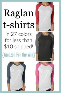 Raglan t-shirts for less than $10 shipped! Amazon FTW. These would be perfect for screen printing/Silhouette Cameo/Cricut/DIY projects, or just as a great casual tee.