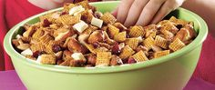 Sweet and savory flavors come together in a simple-to-make snack mix that feeds a crowd.