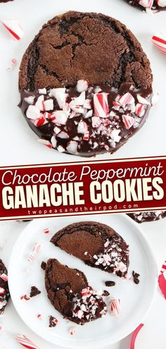 Chocolate Peppermint Ganache Cookies are the perfect holiday treats dipped in chocolate ganache and sprinkled with candy cane pieces. These Christmas cookie recipe is rich, fudgy and dotted with choco chunks; don't forget that silky chocolate ganache! Save this pin! Easy Christmas Candy Recipes, Christmas Goodies, Holiday Cookies, Holiday Baking, Christmas Desserts, Holiday Treats, Best Homemade Cookie Recipe, Delicious Cookie Recipes, Best Dessert Recipes