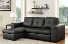 Denton Black Sectional Sofa - CM6149BK-LTR