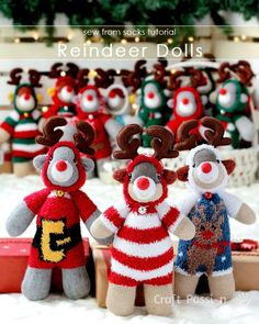 Free pattern on how to sew reindeer doll with 2 single socks. Use a Christmas theme chenille sock as the onesie suit of the reindeer.