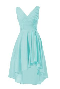 DaisyFormals Short High-Low Formal Dress V-Neck Chiffon Bridesmaid Dress(BM2422) * You can get more details here : Bridesmaid dresses