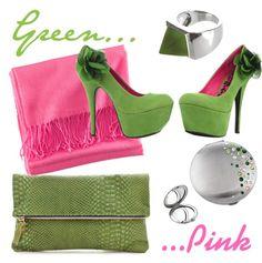 """""""Green... Pink !"""" by monmiroirdesac on Polyvore #followprettypearlsinc AKA 1908"""