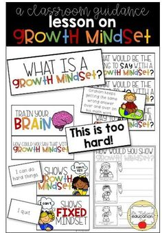 A classroom guidance on growth mindset. Students will learn about growth mindset and fixed mindset with interactive activities to train their brain. Elementary School Counselor, School Counseling, Elementary Schools, Fixed Mindset, Growth Mindset, Another Word For Grow, Teaching Character, Guidance Lessons, Interactive Activities