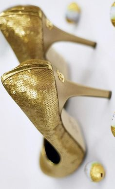 White and Gold Wedding Shoes. Sparkly Glitter Heels. Bride Shoes. CHANEL