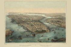 Birds-eye view of Manhattan, New York