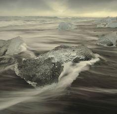 Ice and black sand beach. SE Iceland, 2010
