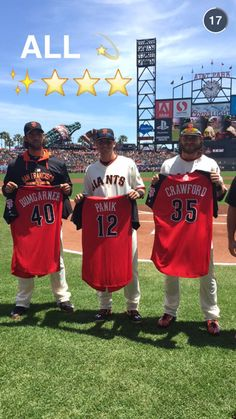 Giants All-Stars MadBum, Joe Panik, and Brandon Crawford.