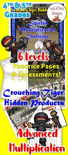 6 Levels of Advanced Multiplication practice sheets, assessments & brag tags make up this highly motivational challenge. Level 1- 4 digit X 1 digit. Level 2- Double digit X double digit. Level 3- Triple digit X double digit. Level 4- Triple digit X triple digit. Level 5- Decimal number X whole number. Level 6- Decimal number X decimal number.