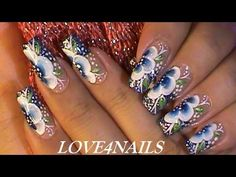 How To Paint A Blue One Stroke Flower / Nail Art Design Tutorial