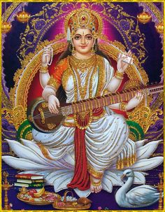 "SARASWATI DEVI ॐArtist: Yogendra RastogiShri Krishna said:""Those who follow this imperishable path of devotional service and who completely engage themselves with faith, making Me the supreme goal, are very, very dear to Me.""~Bhagavad Gita 12.20Please read or listen to ""Bhagavad Gita as it is"" online: http://gitopanishad.com/"