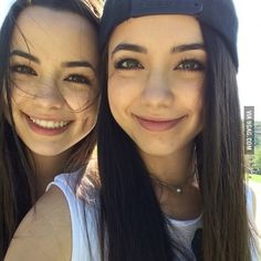 "[ vanessa and veronica merrell ] *left* ""hello! I'm Saskia Hood! I'm 17. I'm the very shy one. This, is my twin sister, Skylar. We are very different but are inseparable. I love reading and dancing. Intro?"" *right* ""hi! I'm Skylar Hood. I'm 17. I'm the rebel. I don't act sweet. I love skateboarding and running. This is my sweet sister, Saskia. Intro?"" *both* ""we have an older brother named Calum! Bye!"""