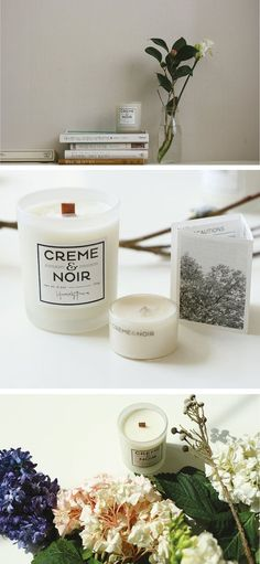 CREME&NOIR Lavender Snow Natural soy candle with therapeutic essential oil and wood wick: