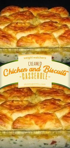 Creamed chicken and biscuits casserole Chicken Thights Recipes, Chicken Parmesan Recipes, Healthy Chicken Recipes, Chicken And Bisquits Recipe, Biscuit Recipe, Chicken And Biscuits Crockpot, Recipes With Biscuits, Healthy Food, Ww Recipes