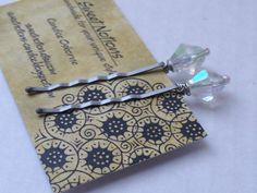 Beaded Bobby Pins Iridescent Beading by sweetnotion on Etsy, $4.00
