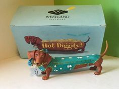 Westland giftware hot diggity dachshund dog figurine box grateful weiner thank u