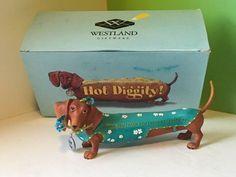 Westland giftware hot diggity dachshund dog figurine box grateful weiner thank u