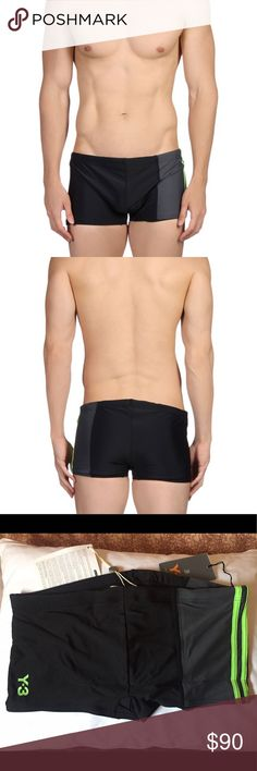 💥🐬🌴New Y-3 Swim Shor🌴🦈💥 Brand New Adidas Y-3 Yohji Yamamoto swim short is a must for anyone who enjoys swimming. High quality nylon and the sewing is impeccable. Very cool and Innovative construction. Fully lined. Has a hidden drawstring on the inside of the waist for added secureness. Men's size Large. Will fit about a 32-36 inch waist. They have a sturdy stretch. Shell: 80% Nylon 20% Elastane Lining: 91% Polyester 9% Elastane Y-3 Swim