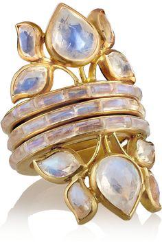 MUNNU|Set of three 22-karat gold moonstone rings |NET-A-PORTER.COM