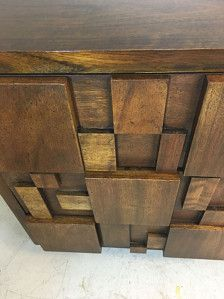 Extraordinary brutalist style nine drawer dresser by Lane. Circa 1960s. Dimensions: 68W x 31H x 19D. Condition: Excellent. Ships via White Glove service.