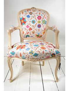 vintage Louis XV armchair in Kathy Ireland linen