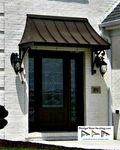 The Gallery Metal Awnings Projects Gallery Of Awnings The Metal Awning Over Front Door In Bronze 4 Front Metal Front Door Canopy Uk Front Door Overhang, Metal Roof, House With Porch, Metal Door Awning, House Entrance Doors, Portico, French Front Doors, Front Door Entrance, Metal Door