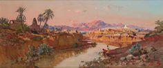 Maxime NOIRE (1861-1927) L'Oued M'Sila (Bou Saada) Huile sur toile, signée en bas à droite. 36 x 82 cm - Gros & Delettrez - 12/12/2011
