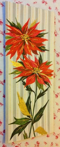 Vintage UNUSED Mid Century Gold Embossed Christmas Card with Red Poinsettias