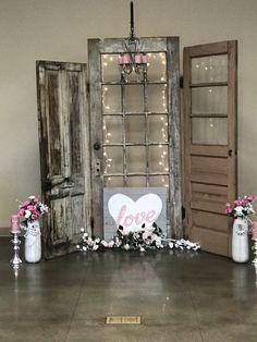 Old doors for wedding back drop . I loved making this Old doors for wedding back drop . I loved making this. Old Wood Doors, Rustic Doors, Wedding Wows, Wedding Ideas, Wedding Decor, Wedding Planning, Dream Wedding, Old Doors Wedding, Recycled Door