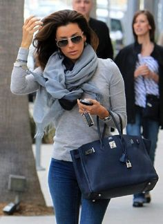 Casual - Long Grey Sleeve Shirt, matching scarf with skinny blue jeans.
