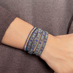 Chan Luu - Blue Mix Beaded Wrap Bracelet on Natural Grey Leather, $210.00 (http://www.chanluu.com/wrap-bracelets/blue-mix-beaded-wrap-bracelet-on-natural-grey-leather/)
