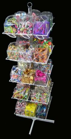 Need a candy filled POP display rack? This 30 bucket rack is pre-filled with 1800 piece of popular fun-sized candies. Order today at Candy Concepts Inc. Candy Store Display, Pop Display, Display Stands, Filled Candy, Candy Stand, Snack Bar, Candy Shop, Junk Food, Balloons