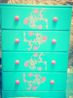 Diy Turquoise and pink dresser