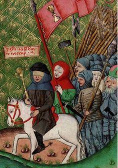 Jan Zizka leading troops of radical Hussites. From the Jensky kodex, between 1490 and 1510.