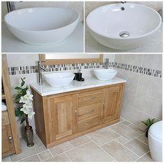 "Bathroom Double Vanity 72"" venica teak double vanity for semi-recessed sinks - natural"