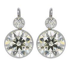 9.84 Carat Old European Cut Diamond Platinum Earrings