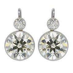 9.84 Carat Old European Cut Diamond Platinum Earrings