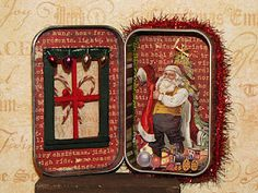 Altered Christmas tin ~amaryllisroze