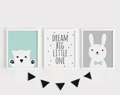 Printable Nursery Art Set of 3 Poster Baby room Wall art Kids