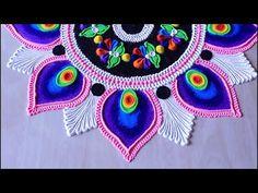 Beautiful rangoli design with colours l muggulu kolam rangoli l रंगोली ड. Simple Rangoli Kolam, Easy Rangoli Designs Diwali, Rangoli Designs Latest, Simple Rangoli Designs Images, Free Hand Rangoli Design, Rangoli Ideas, Kolam Rangoli, Flower Rangoli, Beautiful Rangoli Designs