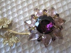 Vintage Amethyst Rhinestone Flower Brooch by VintagObsessions, $20.00