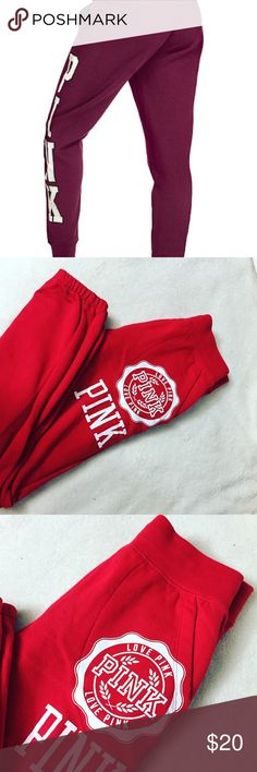 Pink Victoria secret sweatpants 🔥🔥 Beautiful red with white letters 😍❤️ very warm and comfortable !! They are skinny !! They are in good conditions, they are just used between the legs! You can see it in the pictures ! PINK Victoria's Secret Pants Track Pants & Joggers