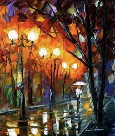 Flaming Night by Leonid Afremov by Leonidafremov