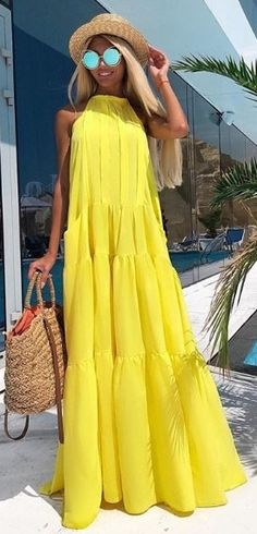 Lemony yellow maxi dress is always a good idea for summer fashion. - Lemony yellow maxi dress is always a good idea for summer fashion. Lemony yellow maxi dress is always a good idea for summer fashion. Boho Outfits, Dress Outfits, Casual Dresses, Fashion Outfits, Summer Dresses, Womens Fashion, Maxi Dresses, Summer Maxi, Beach Dresses