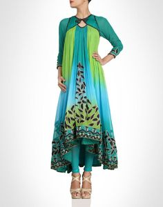 Bright blue and green multihued anarkali. Shop Now: www.kimaya.in