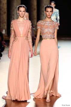 elie saab fall winter 2012 2013 couture pink gown beaded top long sleeves...I like the one on the right!