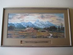 Guy Rowbury Landscape Signed & Numbered Large Lithograph Print W/ Wooden Frame