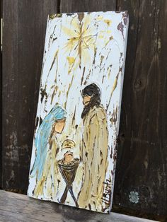 Nativity painting nativity gift christmas decor by HaleyBDesigns Christmas Canvas, Christmas Nativity, Noel Christmas, Christmas Paintings, Christmas Signs, Christmas Projects, Holiday Crafts, Christmas Decorations, Christmas Ornaments